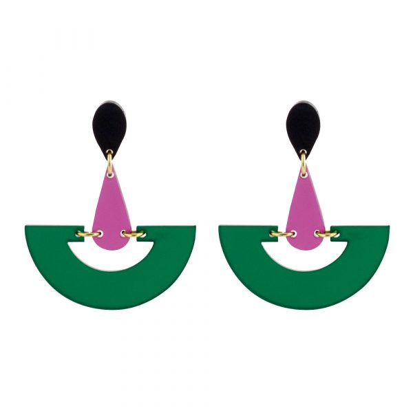 Toolally Statement Earrings - Fan Droplets Emerald & Plum