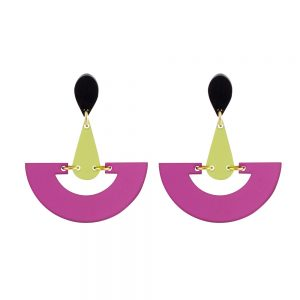 Toolally Statement Earrings - Fan Droplets Plum & Lime