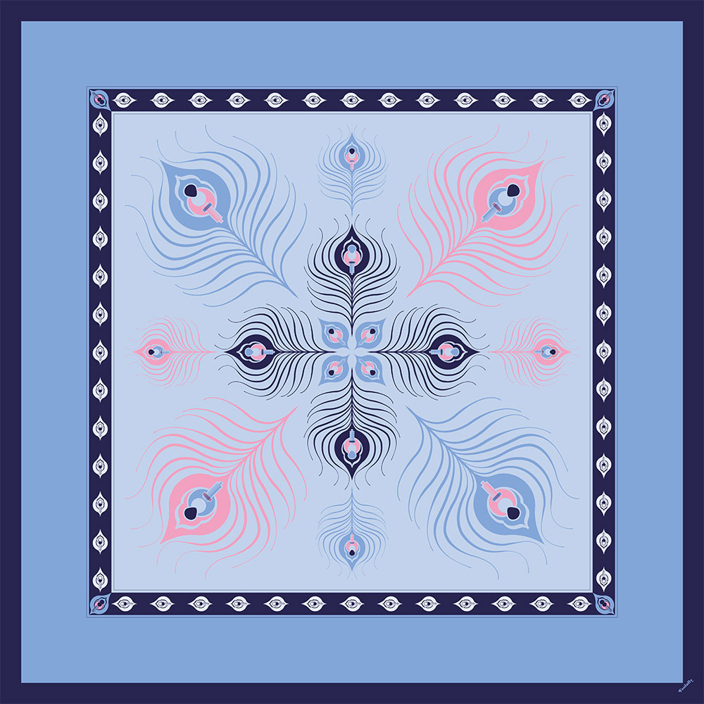 Toolally Scarf (Large) - The Peacock, Pale Blue
