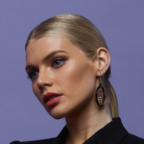Toolally Statement Earrings - Crystal Hoops Black & Nude