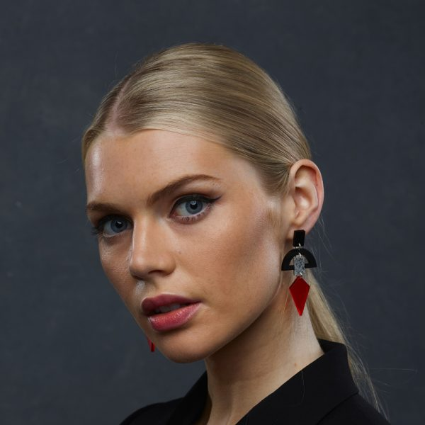 Toolally Statement Earrings - Half Moon Drops Black, Stone and Chilli Red
