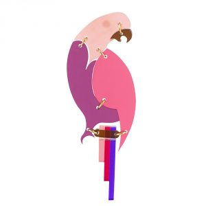 The Parrot Brooch - Pink Frost & Plum