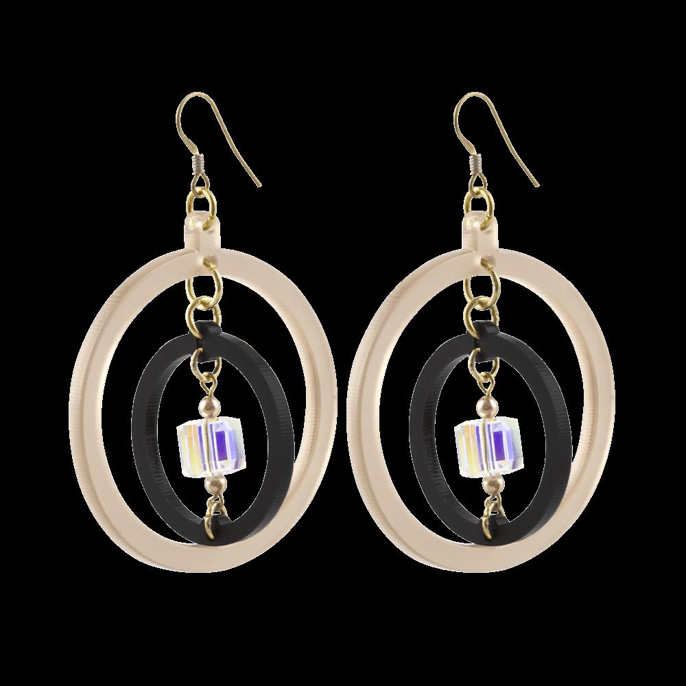 Crystal Hoops, Nude & Black 1000x1000 Toolally Jewellery
