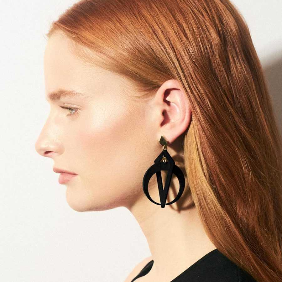 Toolally_Crescent_Hoops_Black_Lifestyle