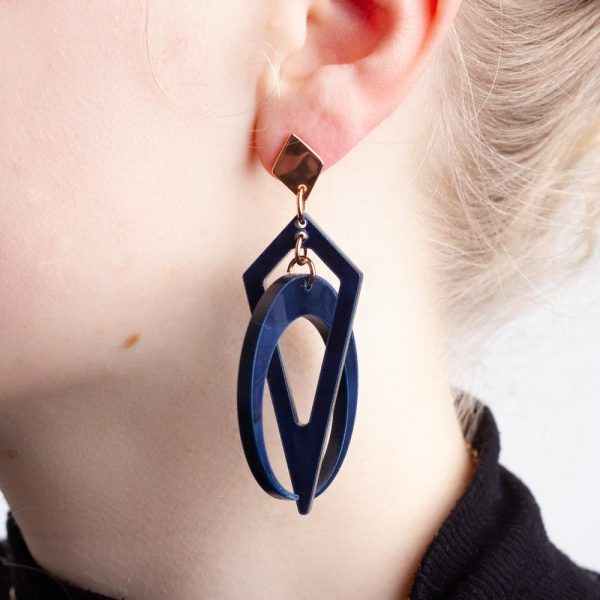 Toolally Classic Crescent Hoops Navy Pearl