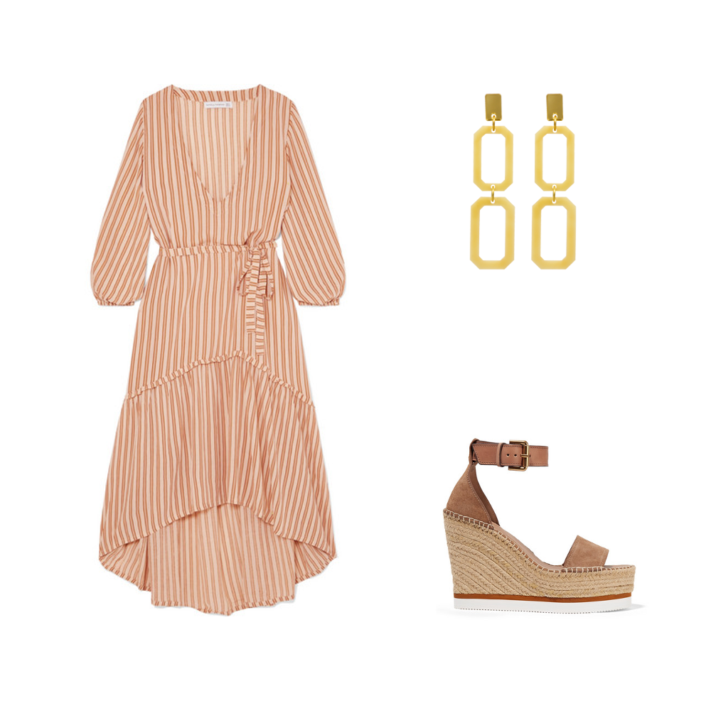 Faithful the Brand dress, See by Chloe shoes and Toolally Luxe Double Cascades in cream marble