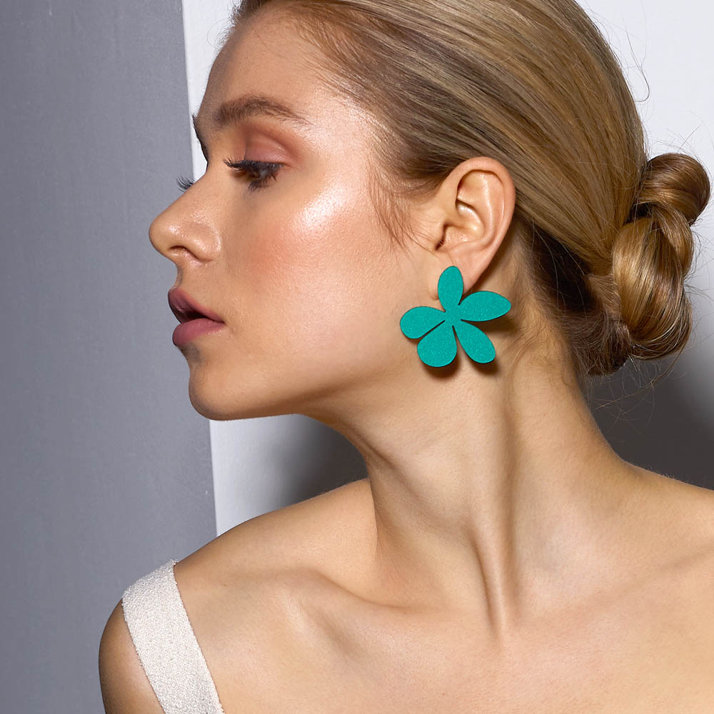 Toolally X Kat Maconie Collaboration_Earrings_Daisys_Green_lifestyle