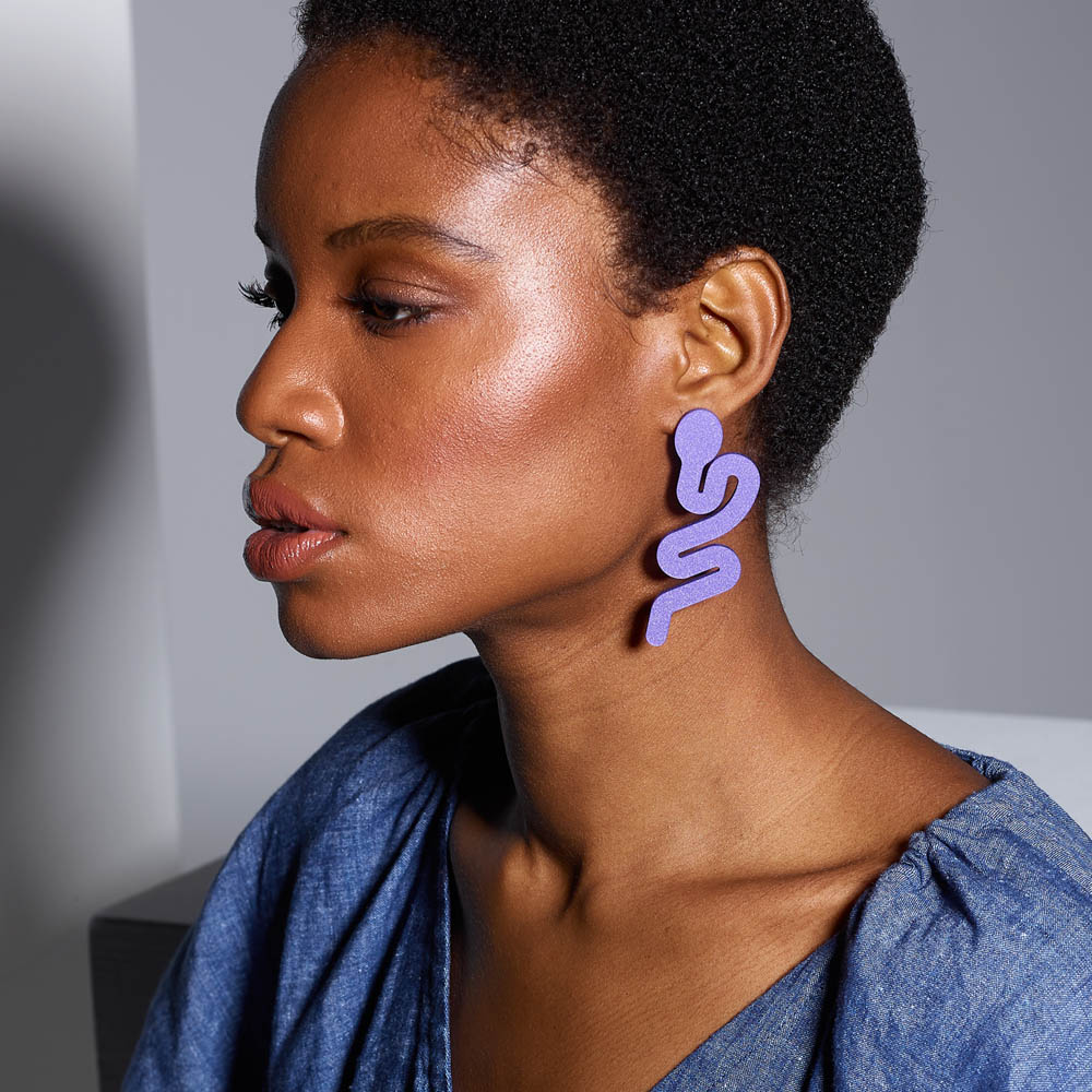 Toolally X Kat Maconie _Snake_Purple_earring_lifestyle