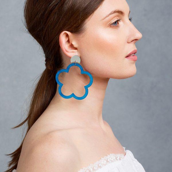 toolally_blue_marble_daisy_hoop_earring_lifestyle
