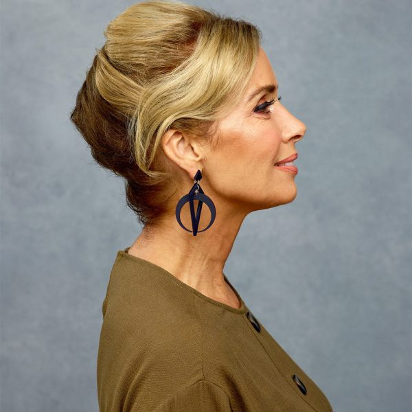 Classic Crescent Hoops in navy lifestyle image