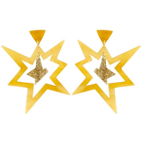 Toolally_Pow_earrings_in_mica_and_gold_glitter