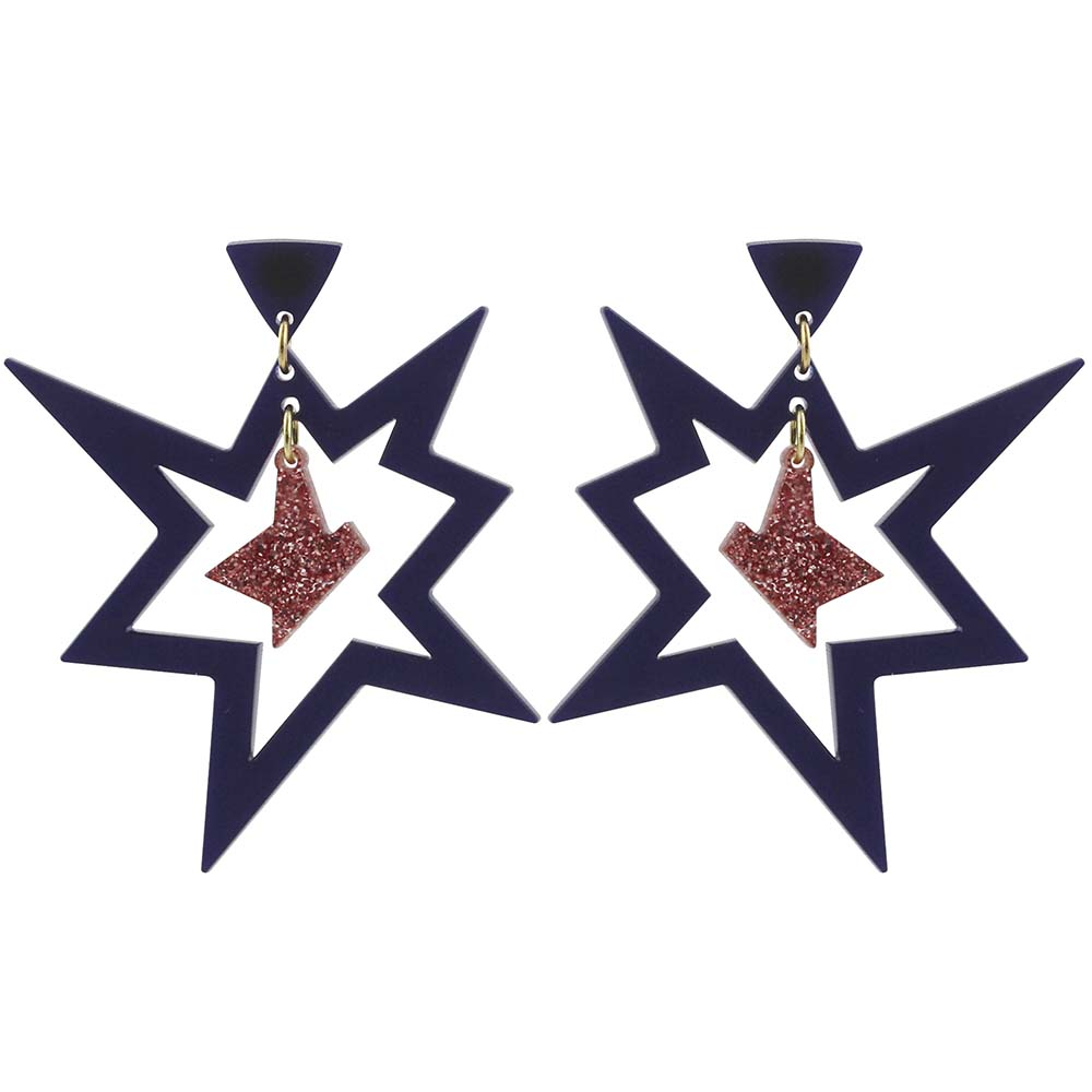 Toolally_Pow_earrings_in _midnight_blue_and_rose_gold_glitter