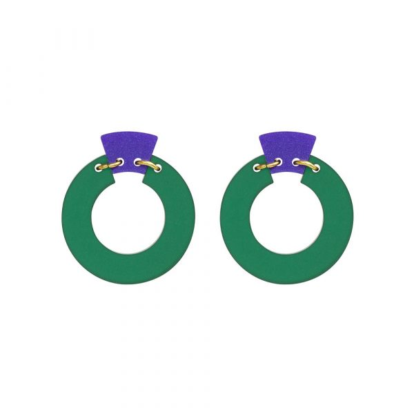 Toolally_Petite_Shift_Hoops_in_Royal_Green_and_Purple