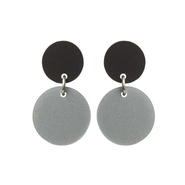Toolally Recycled 1 Earrings Silver Royal and Black