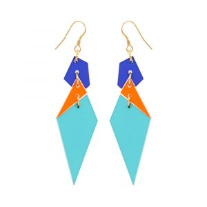 Toolally Abstract Diamond Earrings in Azure and Mandarin Product Image