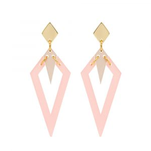 Toolally Arrowead Earrings in pink and nude Image