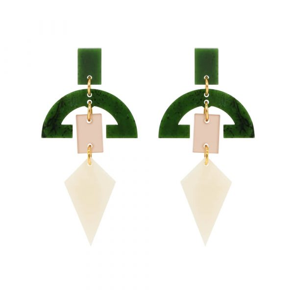 Toolally Half Moon Drop Earrings in Alabasta and jade product Image