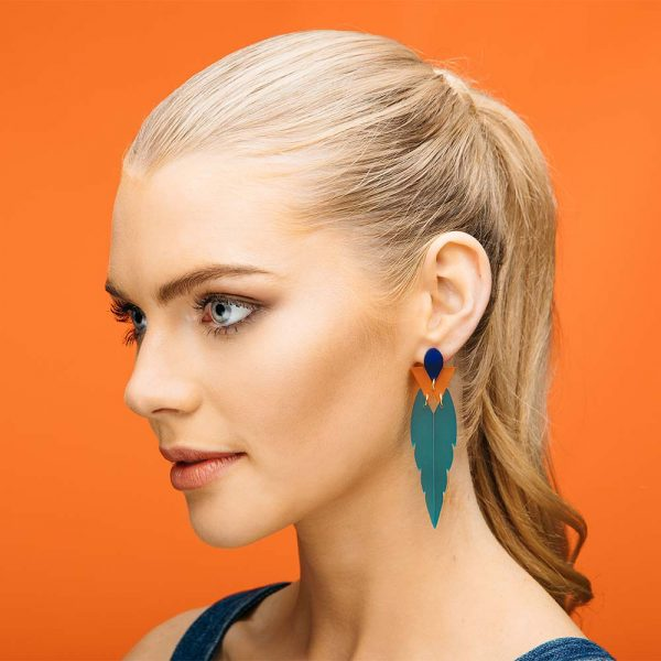Toolally Kingfisher Earrings in Azure and Mandarin Lifestyle