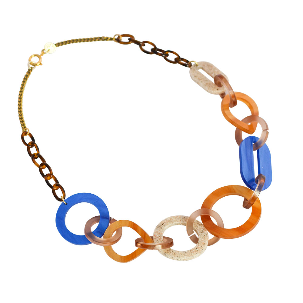 Toolally Links Single Necklace inblue and beige