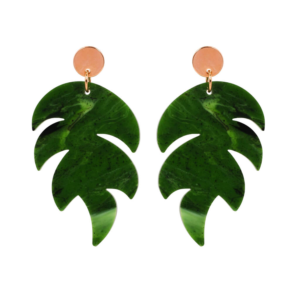 Toolally Palm Earrings in jade and roseg gold product image