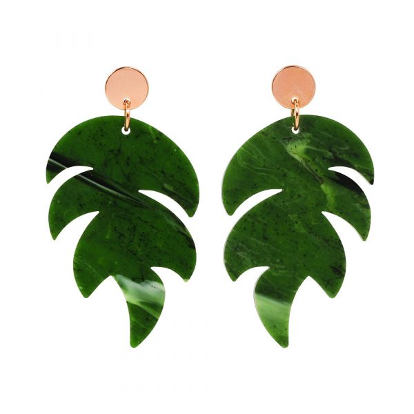 Toolally Palm Earrings in jade and rose gold product image