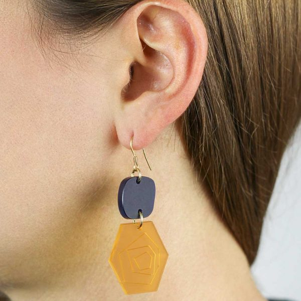Toolally_Abstract_Roses_Saffron_Navy_Earrings_Lifestyle