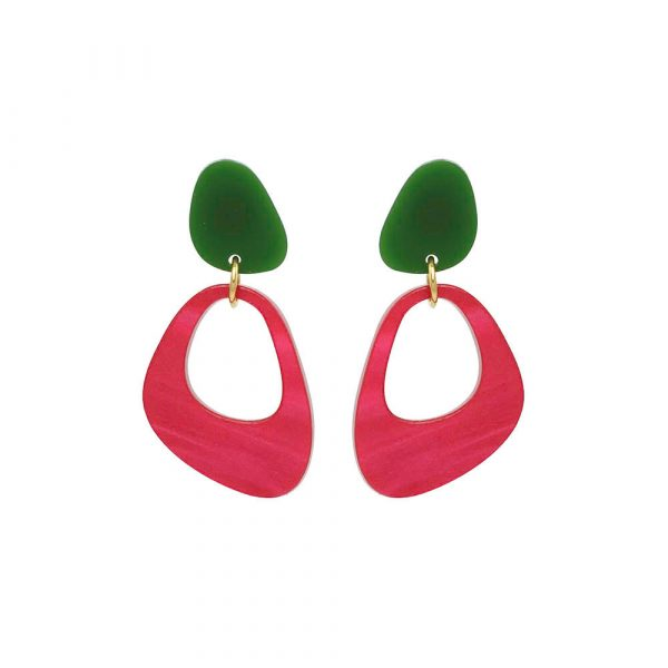 Pebble Drops in jade and cerise