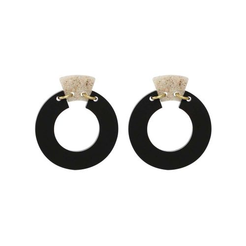Toolally Petite Shift Hoops - Black & Sandstone