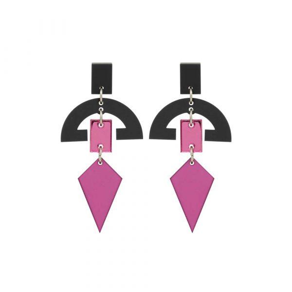 Half Moon Drops - Plum & Pink Mirror