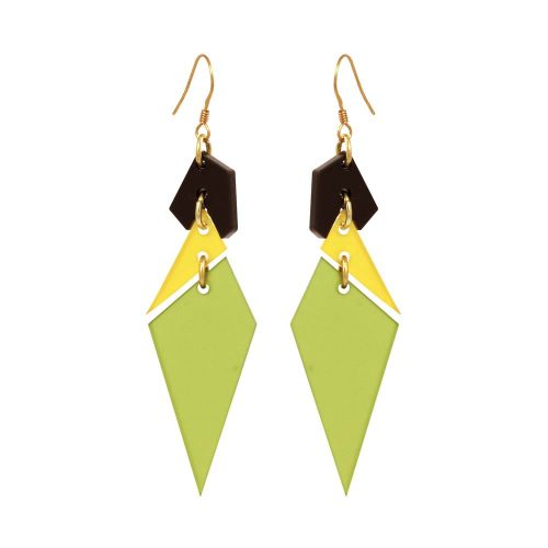 Toolally Abstract Diamonds - Lime and Saffron