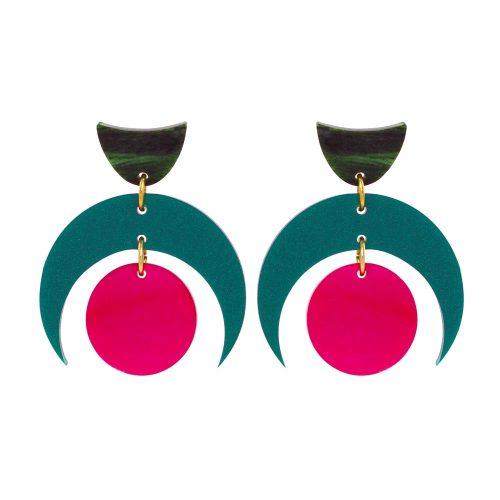Toolally Crescent Orbs - Royal Green & Cerise