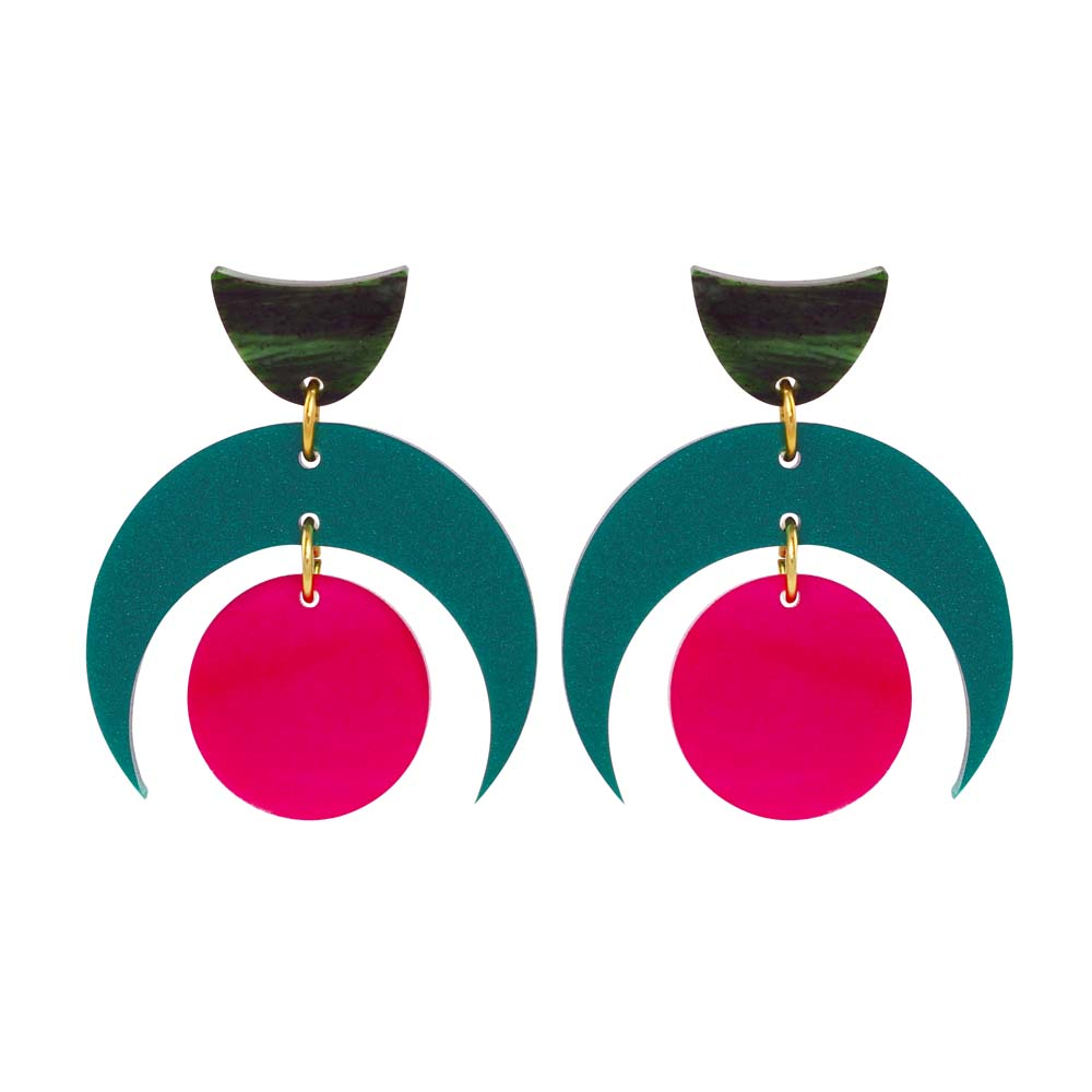 Toolally Crescent Orbs - Royal Green & Cerise