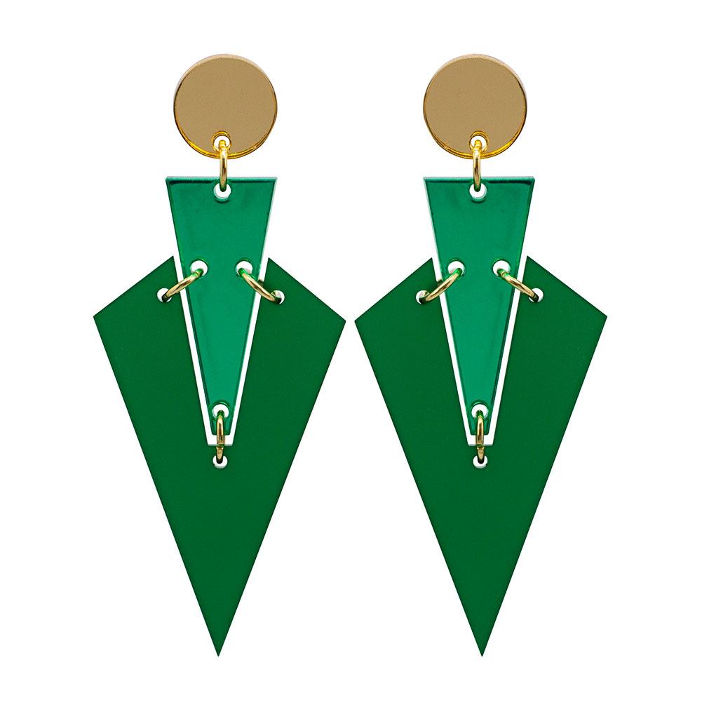 Toolally Art Deco Drops Emerald Green & Green Mirror
