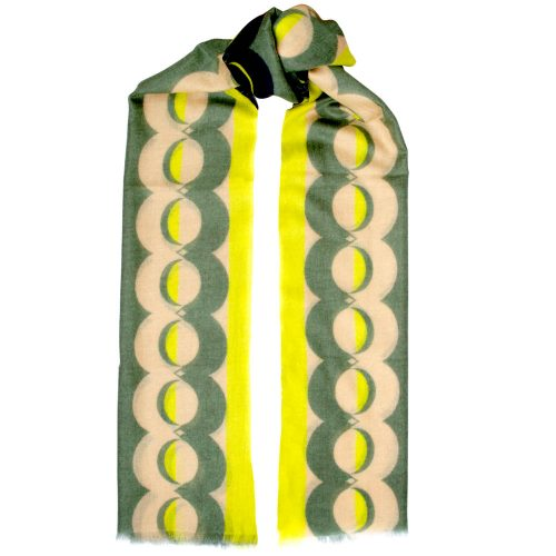 Toolally Crescent Orbs Scarf Khaki & Yellow