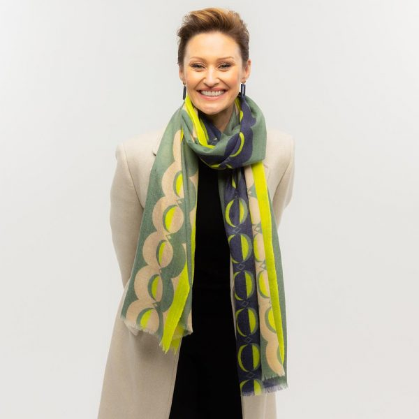Toolally Crescent Orbs Scarf Khaki & Yellow Lifestyle 3