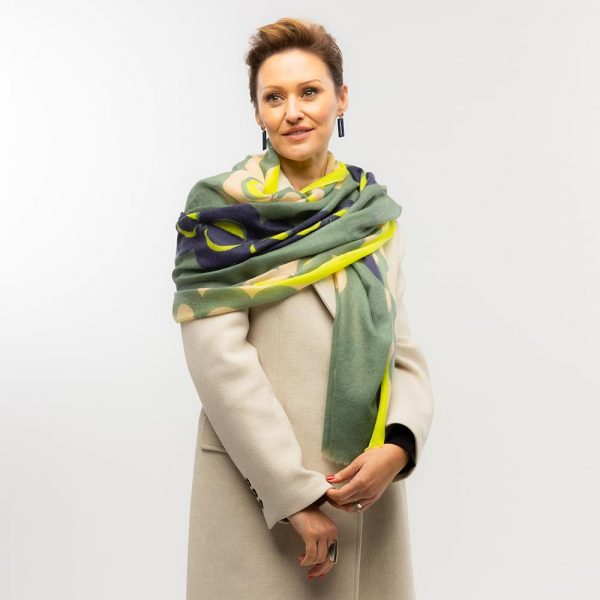Toolally Crescent Orbs Scarf Khaki & Yellow Lifestyle 4