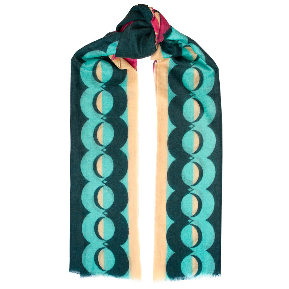 Toolally Crescent Orbs Scarf Pink & Turquoise
