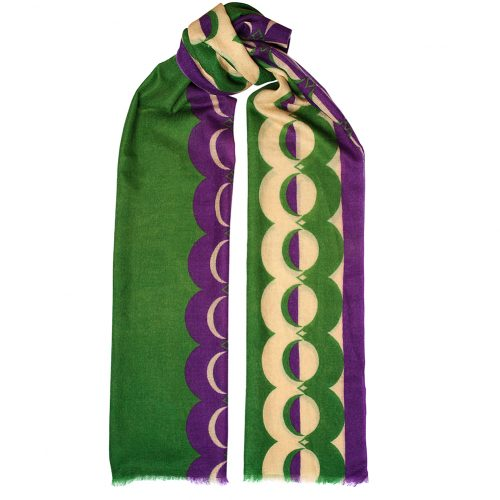 Toolally Crescent Orbs Scarf Purple & Green