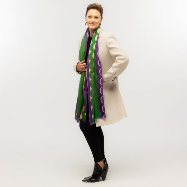 Toolally Crescent Orbs Scarf Purple & Green Lifestyle 1