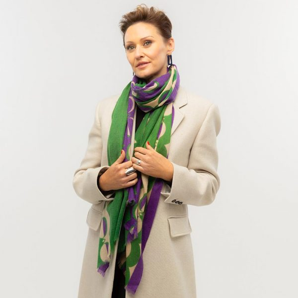 Toolally Crescent Orbs Scarf Purple & Green Lifestyle 5