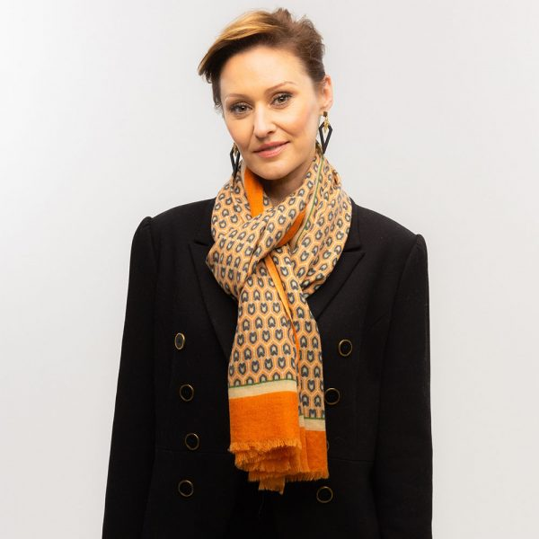 Toolally Houndstooth Scarf Orange Lifestyle 2