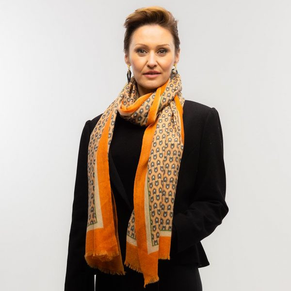 Toolally Houndstooth Scarf Orange Lifestyle 3