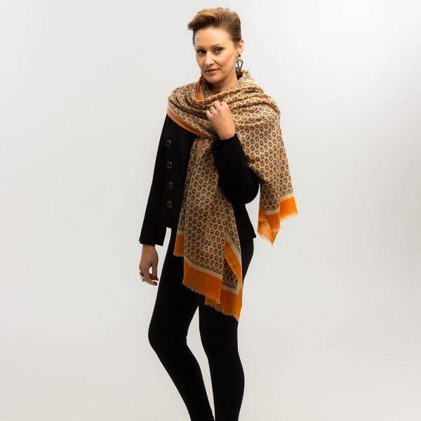 Toolally Houndstooth Scarf Orange Lifestyle 4