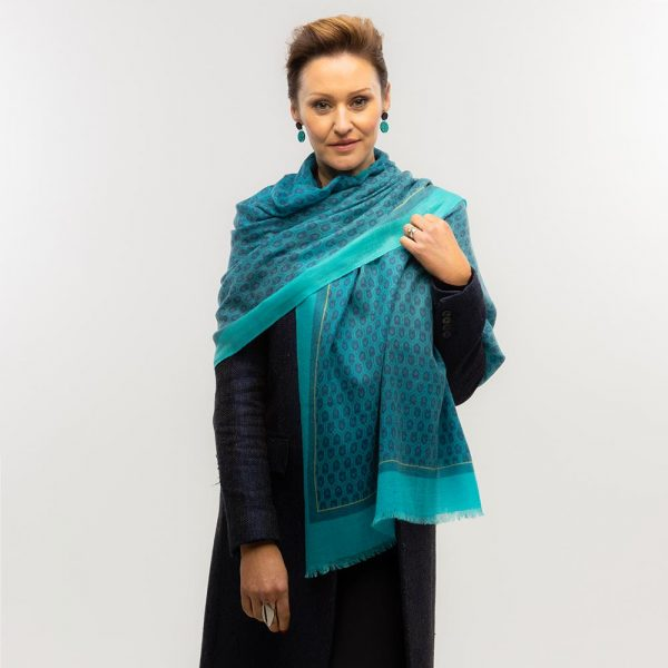 Toolally Houndstooth Scarf Turquoise Lifestyle 1