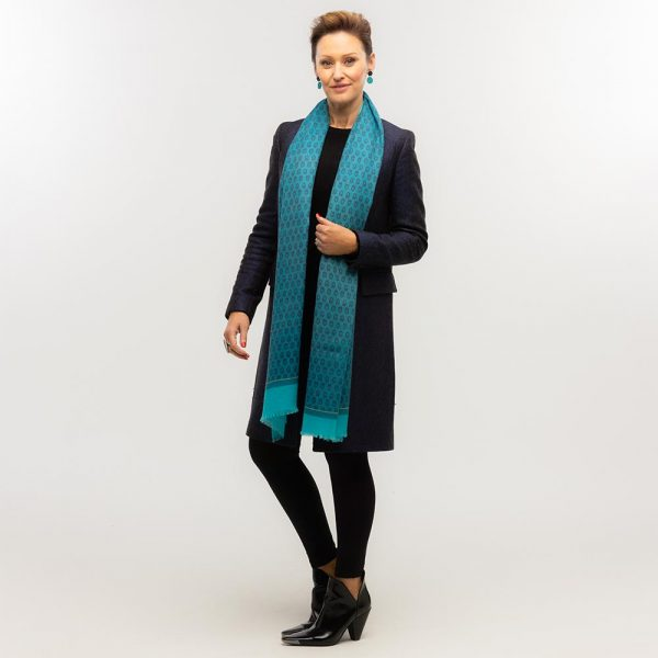 Toolally Houndstooth Scarf Turquoise Lifestyle 3