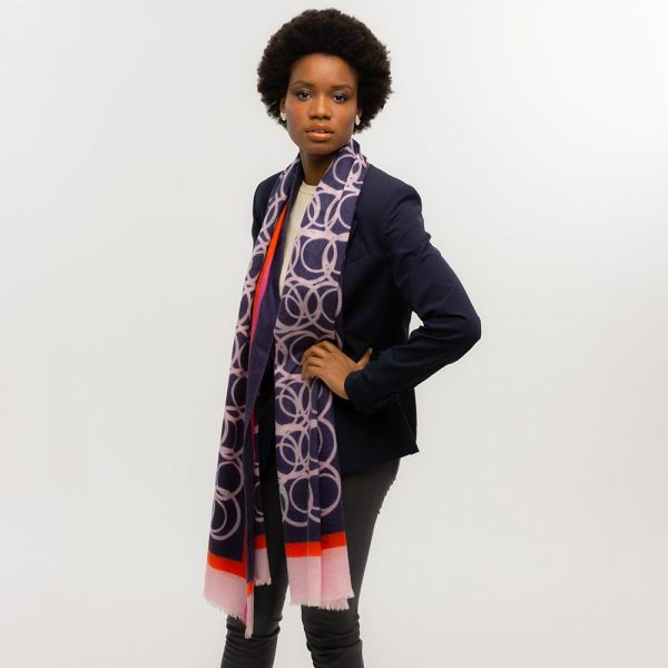 Toolally LBD Hoop Scarf Navy & Pink Lifestyle 1