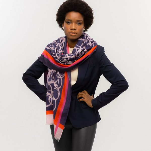 Toolally LBD Hoop Scarf Navy & Pink Lifestyle 3