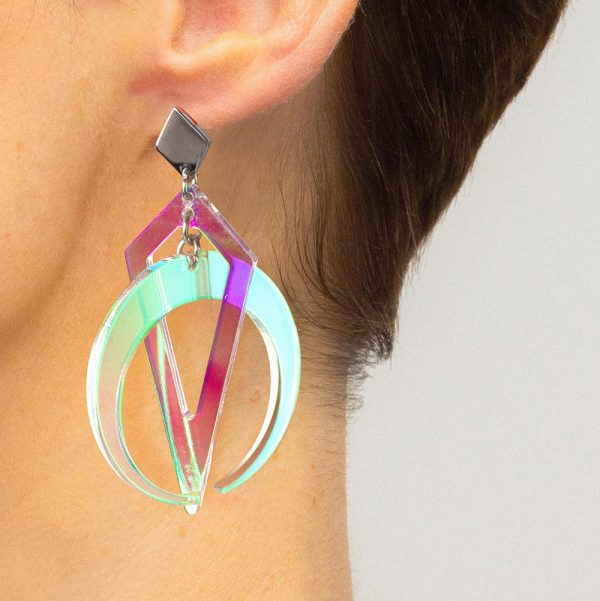 Toolally crescent hoops iridescent lifestyle