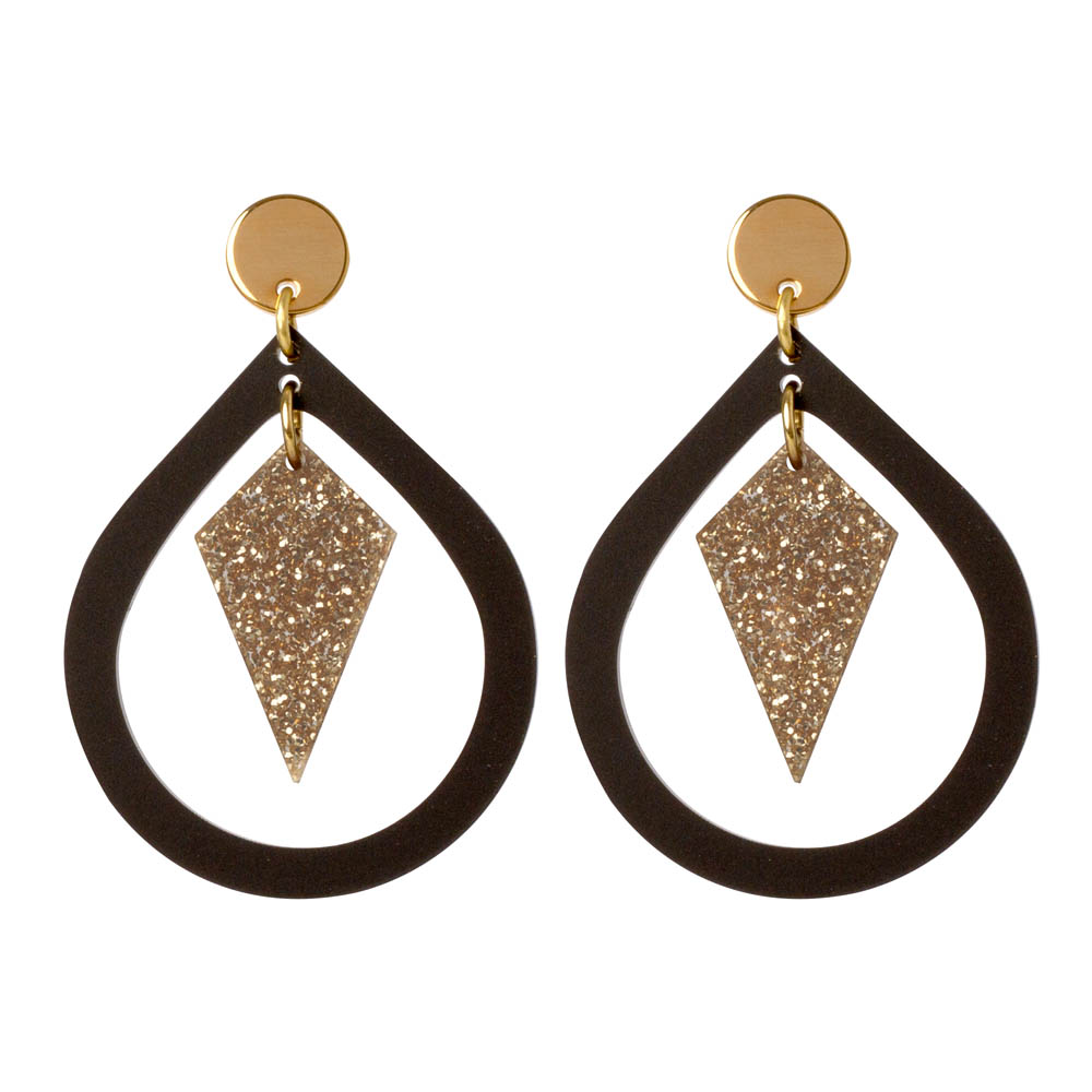 Toolally Pear and Diamond Black & Gold Glitter