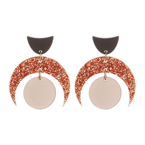 Toolally Crescent Orbs Nude Copper Glitter